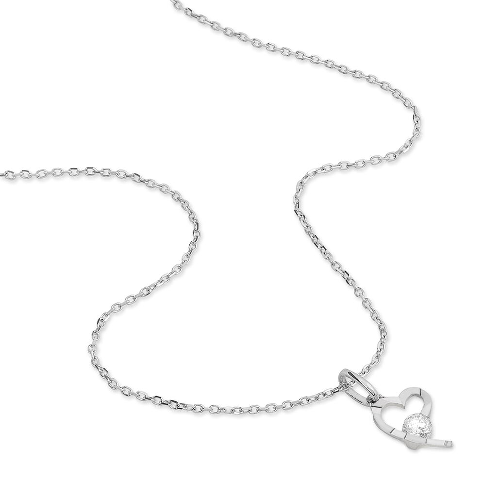 Collier Romance Or Blanc Oxyde De Zirconium - Colliers Coeur Femme | Histoire d'Or