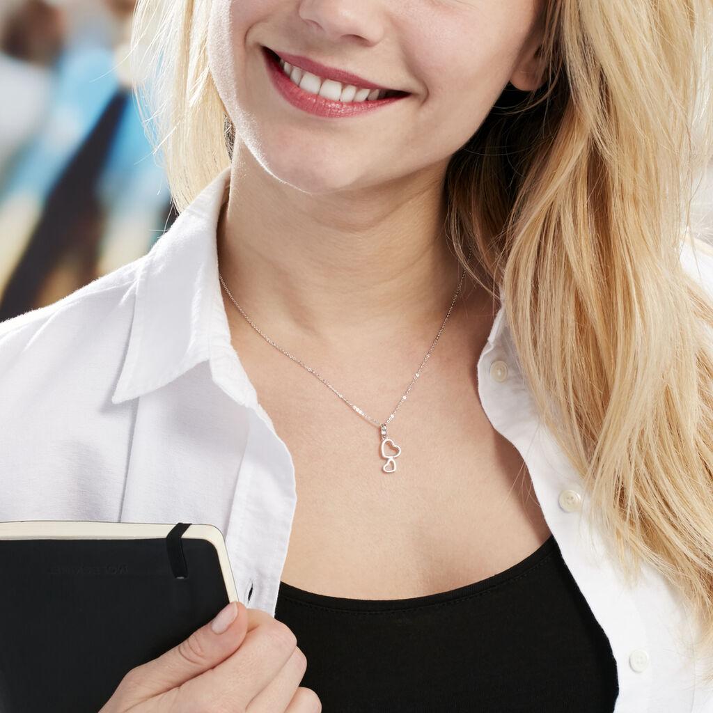 Collier Estina Argent Blanc - Colliers Coeur Femme | Histoire d'Or