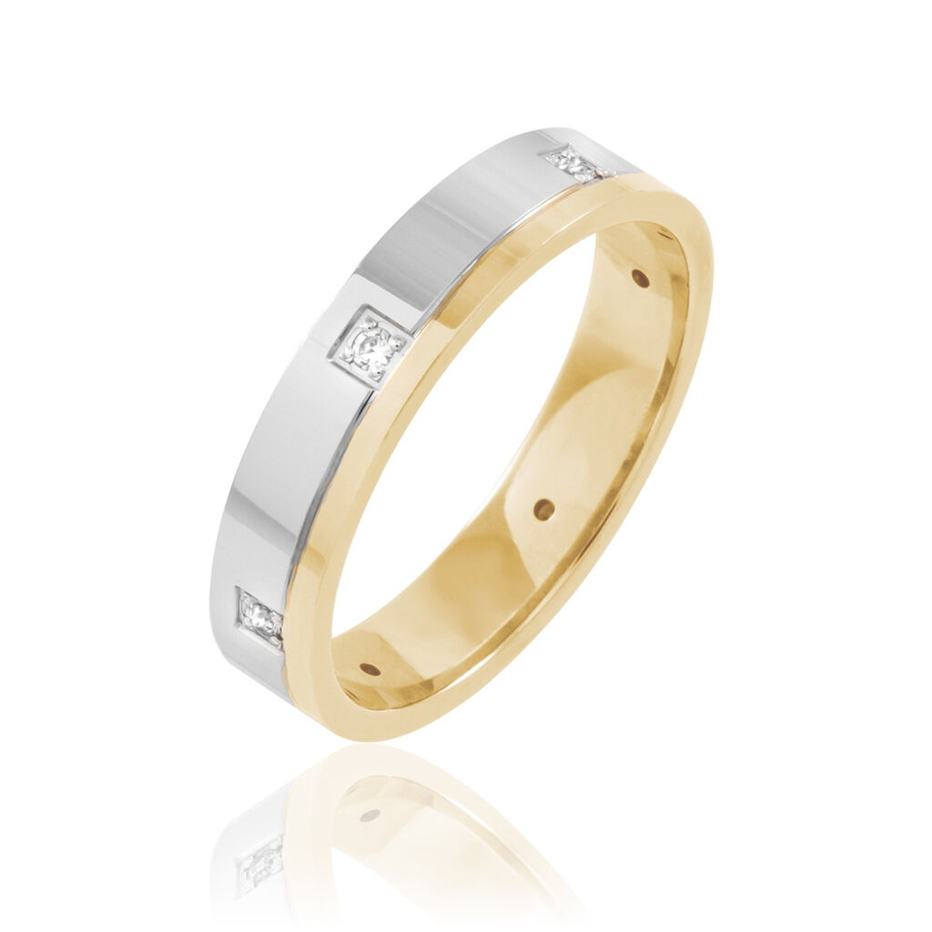 Alliance Camy Or Bicolore Diamant - Alliances Unisexe   Histoire d'Or
