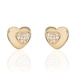 Boucles D'oreilles Puces Saleah Plaque Or Jaune Oxyde De Zirconium - Boucles d'Oreilles Coeur Femme | Histoire d'Or