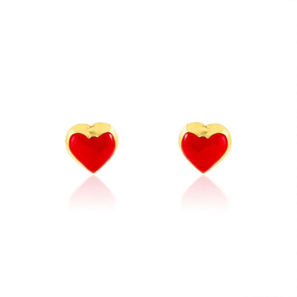 Boucles D'oreilles Puces Coralie Coeur Or Jaune - Boucles d'Oreilles Coeur Enfant   Histoire d'Or