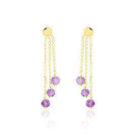 Boucles D'oreilles Pendantes Or Jaune Amethyste - Boucles d'oreilles pendantes Femme | Histoire d'Or