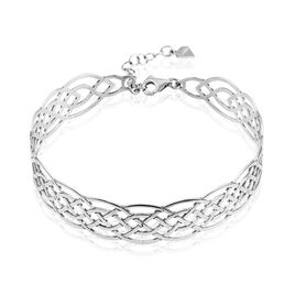 Bracelet Jonc Adelle Argent Blanc - Bracelets joncs Femme | Histoire d'Or