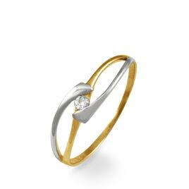 Bague Solitaire Diamond Or Bicolore Diamant - Bagues avec pierre Femme | Histoire d'Or