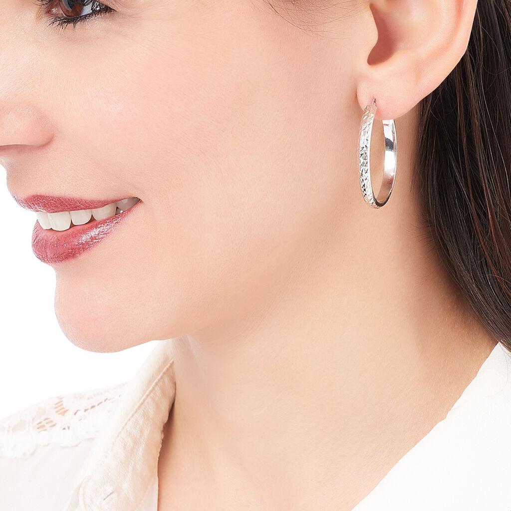 Créoles Esmee Fil Plat Diamanté Argent Blanc - Boucles d'oreilles créoles Femme   Histoire d'Or
