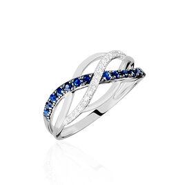 Bague Or Blanc Maudie Saphirs Diamants - Bagues avec pierre Femme | Histoire d'Or