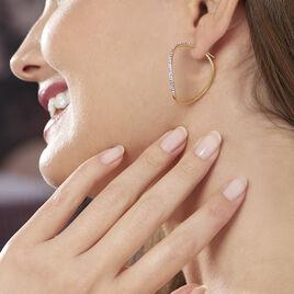 Creoles Or Jaune Vrille Strassee - Boucles d'oreilles créoles Femme | Histoire d'Or