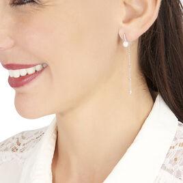Boucles D'oreilles Puces Kia Or Blanc Perle De Culture Et Oxyde - Boucles d'oreilles pendantes Femme   Histoire d'Or