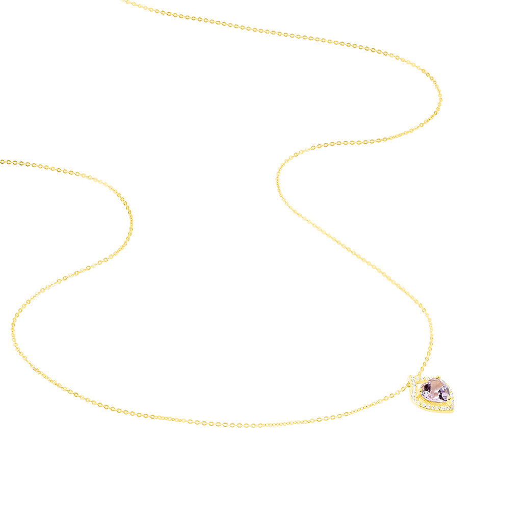 Collier Rosaline Or Jaune Amethyste Et Oxyde De Zirconium - Colliers Coeur Femme   Histoire d'Or