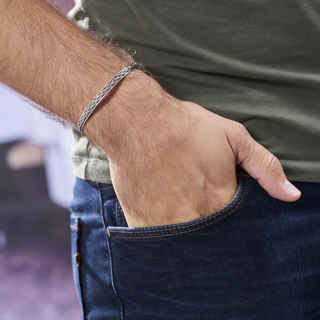 Bracelet Jonc Oscaro Argent Gris - Bracelets joncs Homme | Histoire d'Or