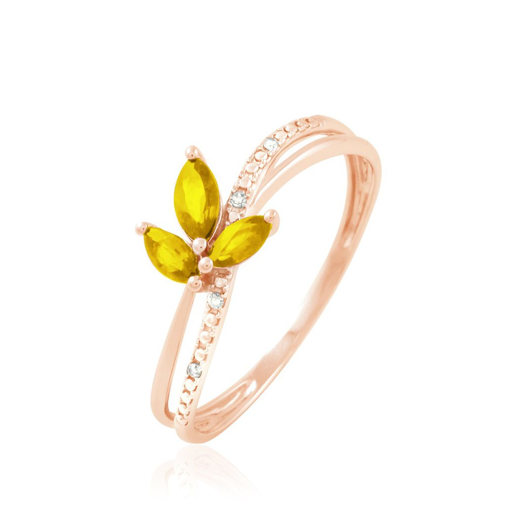 Bague Maura Or Rose Citrine Et Diamant