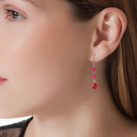 Boucles D'oreilles Pendantes Melodie Argent Blanc Rubis - Boucles d'oreilles fantaisie Femme | Histoire d'Or