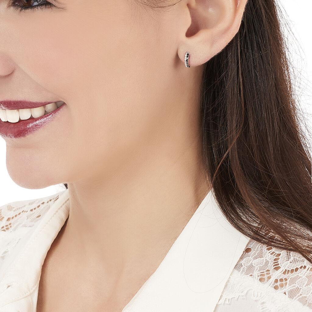 Boucles D'oreilles Puces Demi Lune Or Blanc Diamant - Boucles d'Oreilles Lune Femme | Histoire d'Or