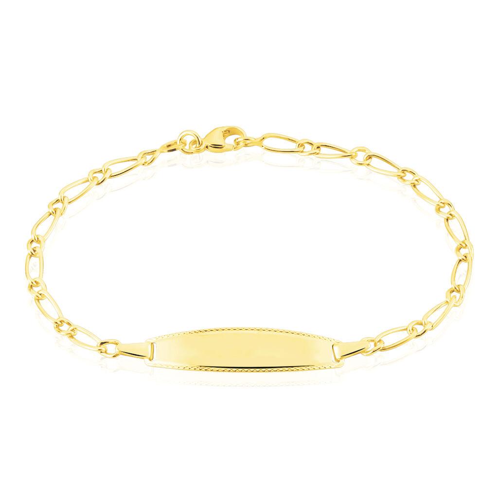 Bracelet Identité Bartolomee Maille Alternee 1/1 Or Jaune - Bracelets Communion Enfant   Histoire d'Or