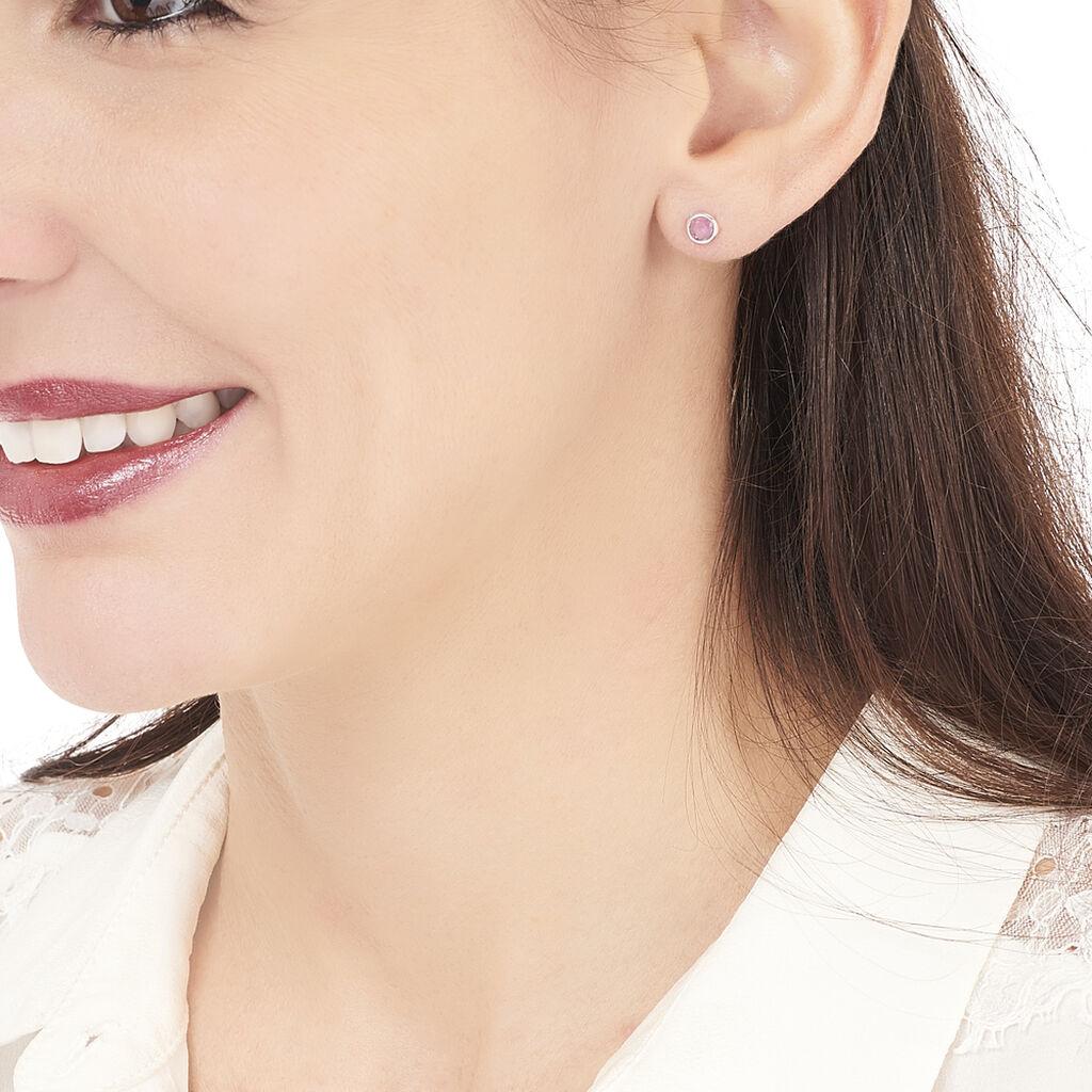 Boucles D'oreilles Puces Edy Serti Clos Or Blanc Amethyste - Clous d'oreilles Femme   Histoire d'Or