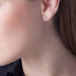 Boucles D'oreilles Puces Petrine Argent Blanc Oxyde De Zirconium - Boucles d'oreilles fantaisie Femme | Histoire d'Or