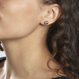 Boucles D'oreilles Puces Boule Ar Argent Blanc - Boucles d'oreilles fantaisie Femme   Histoire d'Or