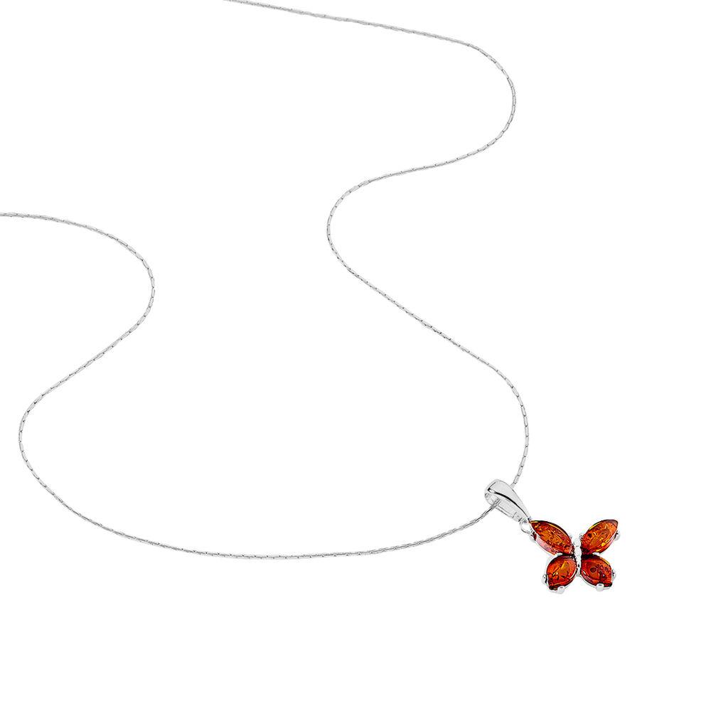 Collier Asma Argent Blanc Ambre - Colliers Papillon Femme | Histoire d'Or