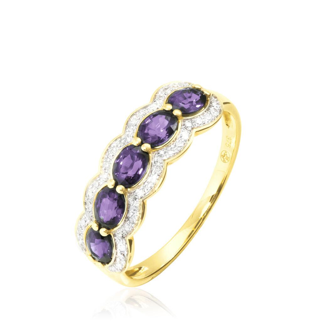 Bague Margaux Or Jaune Amethyste Et Diamant - Bagues avec pierre Femme | Histoire d'Or