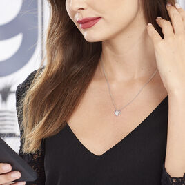 Collier Origami Argent Blanc Oxyde De Zirconium - Colliers Coeur Femme | Histoire d'Or