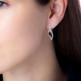 Boucles D'oreilles Pendantes Blandina Argent Blanc Ambre - Boucles d'Oreilles Plume Femme | Histoire d'Or