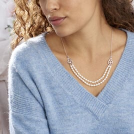 Collier Pygmalion Argent Blanc Oxyde De Zirconium Perle De Culture - Sautoirs Femme | Histoire d'Or