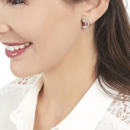 Boucles D'oreilles Puces Aisha Argent Blanc Oxyde De Zirconium - Boucles d'Oreilles Lune Femme | Histoire d'Or