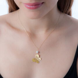 Collier Steline Or Jaune Strass - Colliers Papillon Femme   Histoire d'Or