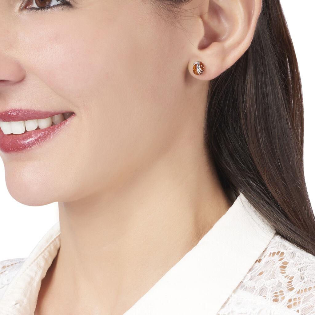 Boucles D'oreilles Puces Aleina Argent Blanc Ambre - Boucles d'oreilles fantaisie Femme   Histoire d'Or