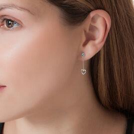 Boucles D'oreilles Puces Or Blanc Oxyde De Zirconium - Boucles d'Oreilles Coeur Femme | Histoire d'Or