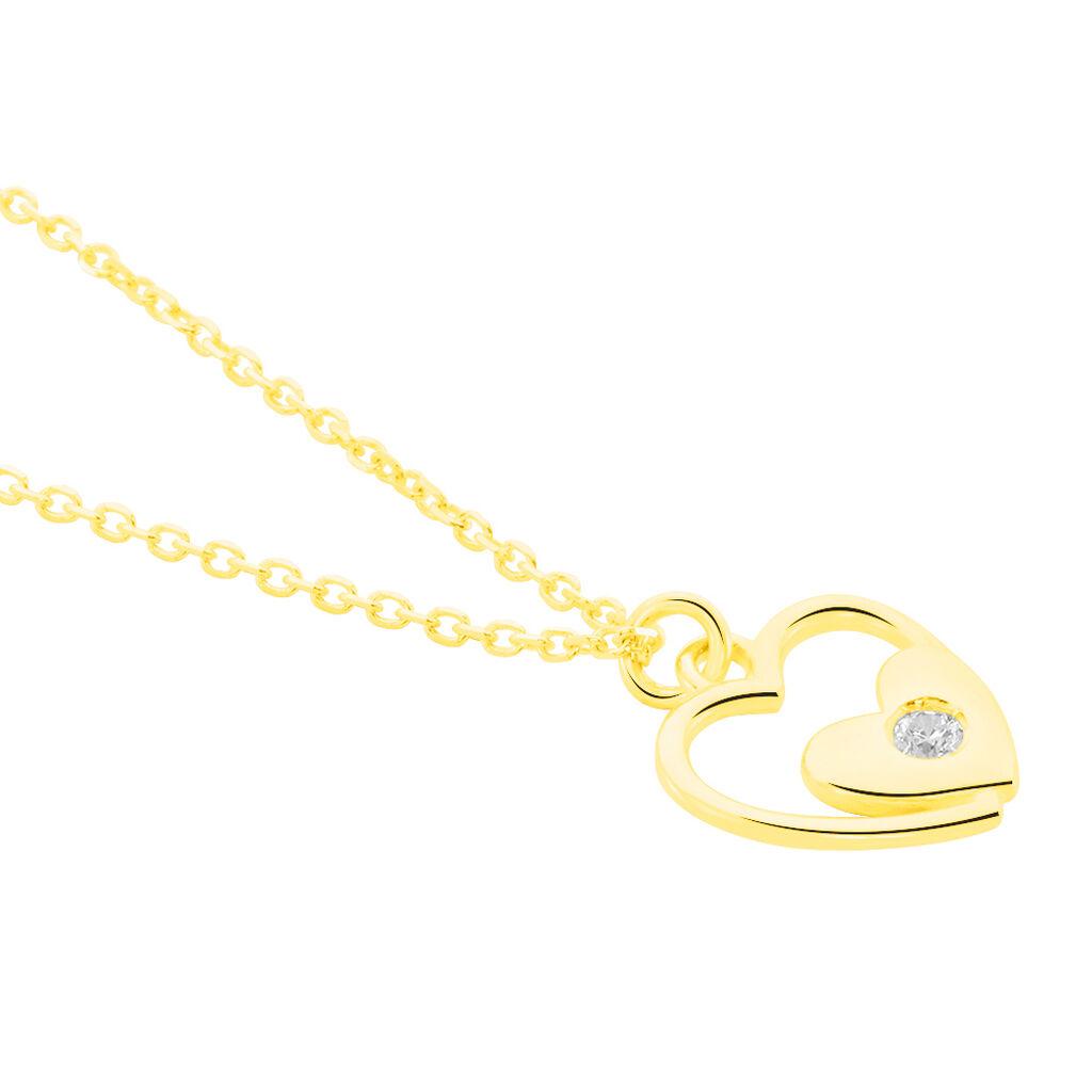 Collier Terentille Coeur Or Jaune Oxyde De Zirconium - Colliers Coeur Enfant   Histoire d'Or