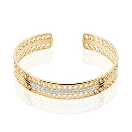 Bracelet Jonc Solena Plaque Or Jaune Oxyde De Zirconium - Bracelets joncs Femme   Histoire d'Or