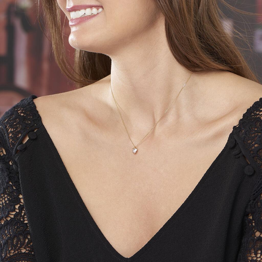 Collier Coeur Serti Clos Or Jaune Oxyde De Zirconium - Colliers Coeur Femme   Histoire d'Or
