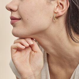 Créoles Hera Vrillees Fils Carres Rondes Or Jaune Strass - Boucles d'oreilles créoles Femme | Histoire d'Or