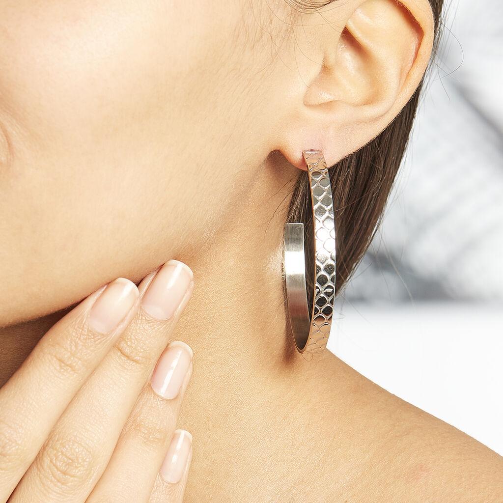 Créoles Abram Acier Blanc - Boucles d'oreilles créoles Femme | Histoire d'Or