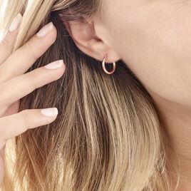 Créoles Agathe Diamantées Argent Rose - Boucles d'oreilles créoles Femme | Histoire d'Or