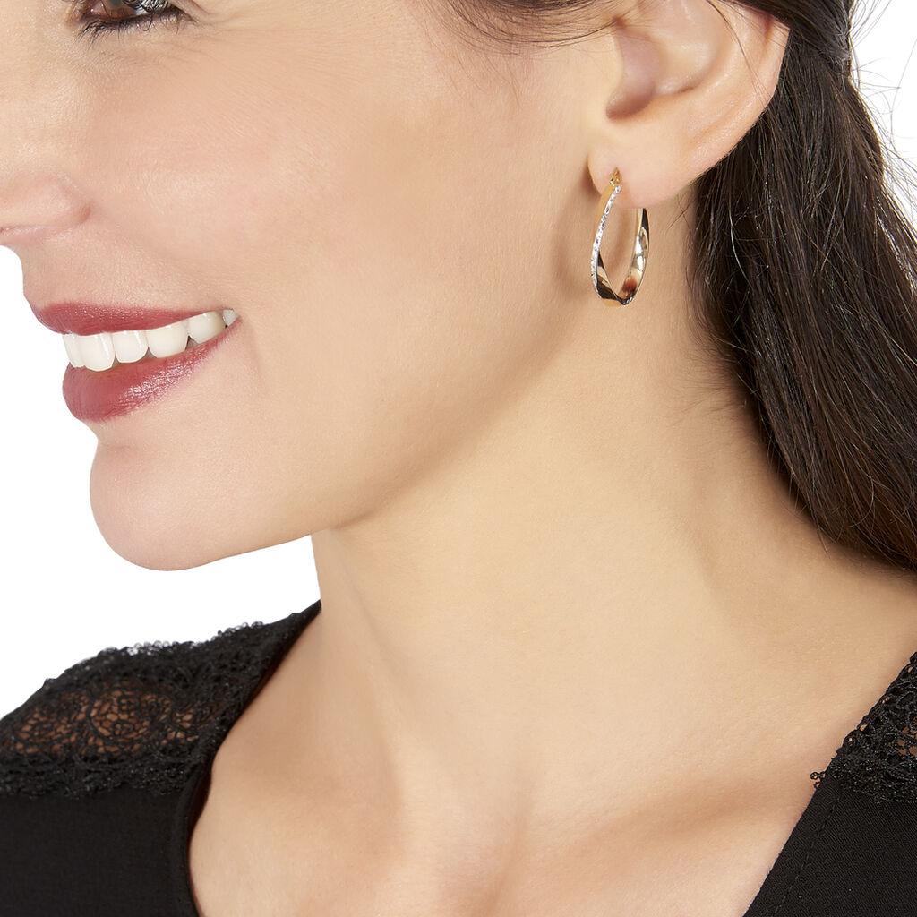 Créoles Doralynne Diamantees Fil Plat Or Bicolore - Boucles d'oreilles créoles Femme   Histoire d'Or