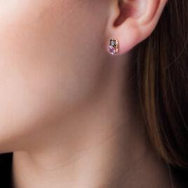Boucles D'oreilles Pendantes Or Jaune Quartz Et Amethyste - Boucles d'oreilles pendantes Femme   Histoire d'Or