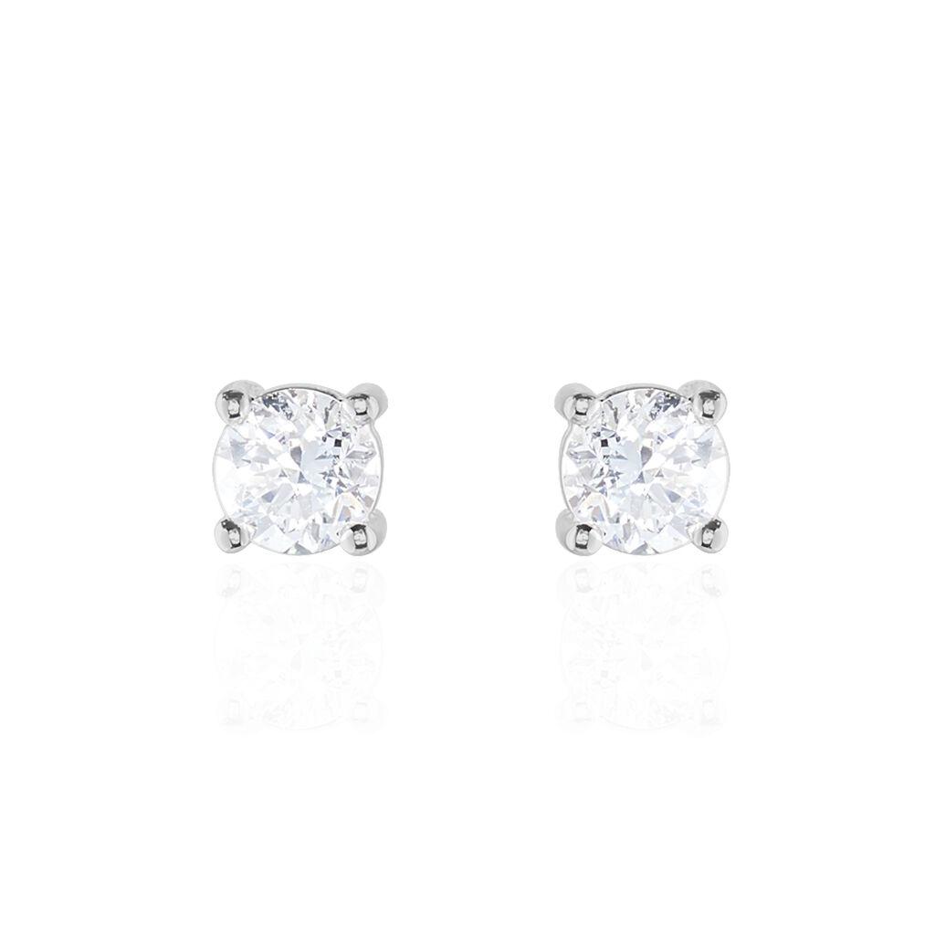 Boucles D'oreilles Puces 4 Griffes Or Blanc Diamant Synthetique - Clous d'oreilles Femme   Histoire d'Or