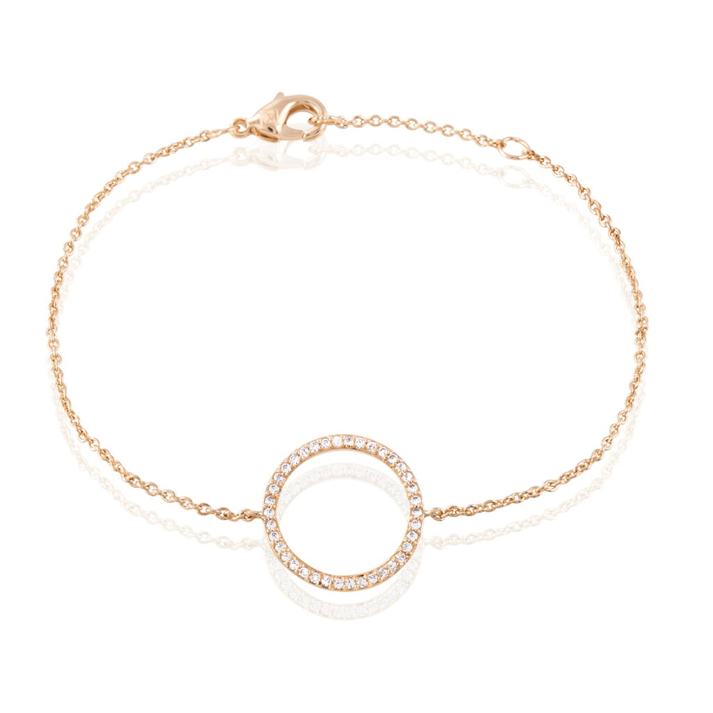 Bracelet Kalinka Plaque Or Rose Oxyde De Zirconium - Bracelets fantaisie Femme | Histoire d'Or