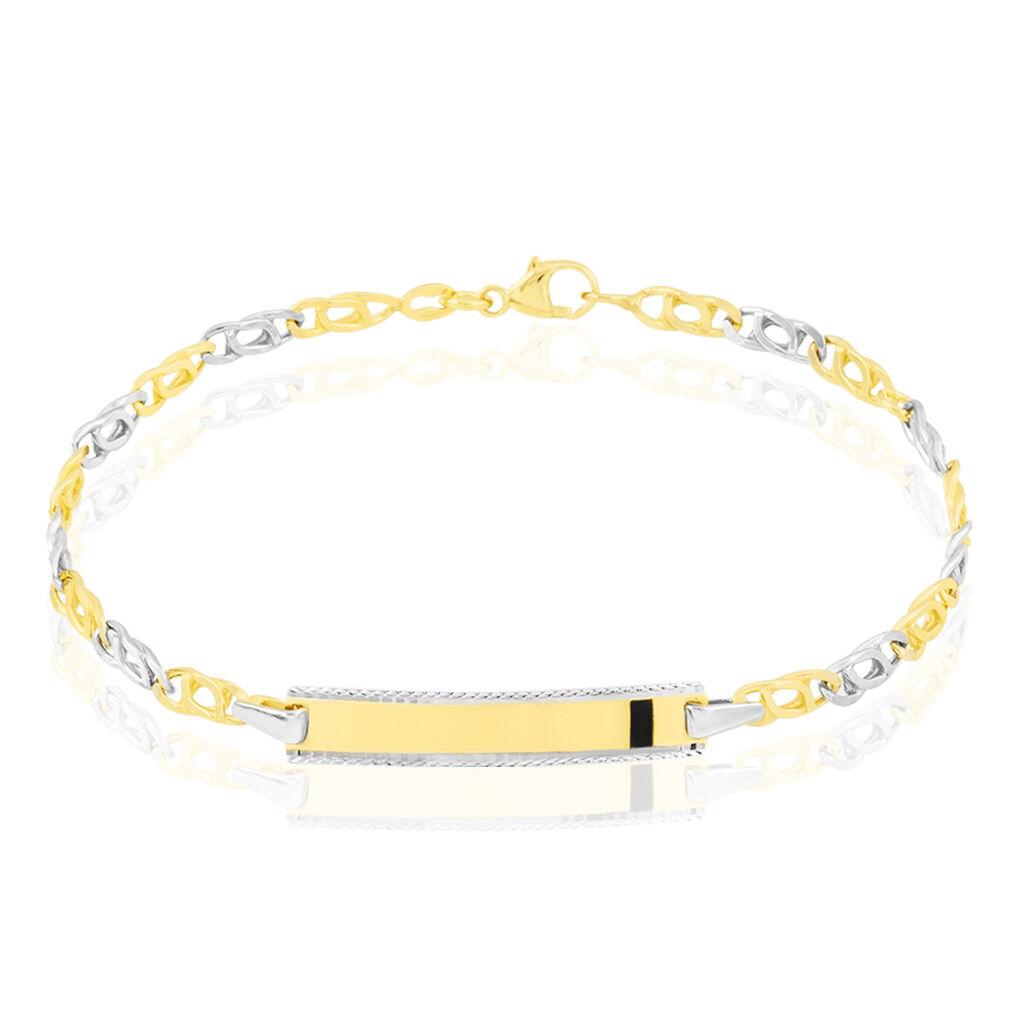 Bracelet Identité Fanelia Maille Marine Or Bicolore - Bracelets Communion Enfant   Histoire d'Or