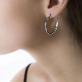 Créoles Ilana Lisses Fil Triangle Or Blanc - Boucles d'oreilles créoles Femme   Histoire d'Or