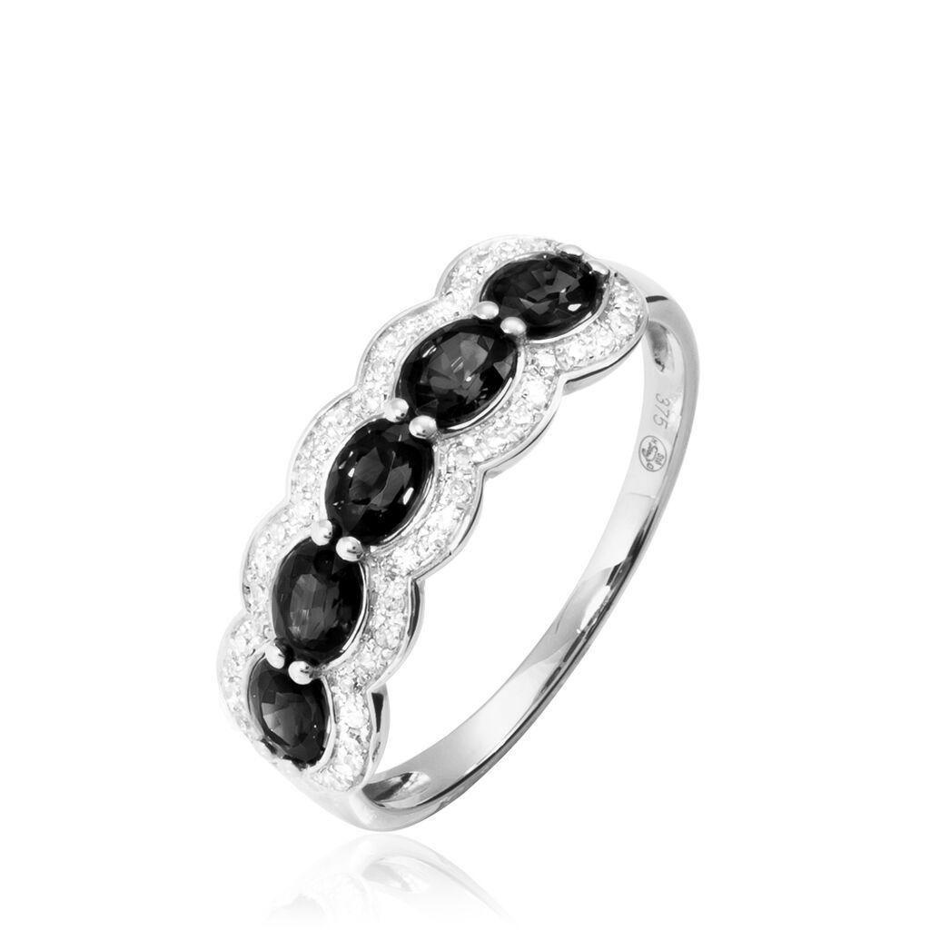 Bague Margaux Or Blanc Agate Et Diamant - Bagues avec pierre Femme   Histoire d'Or
