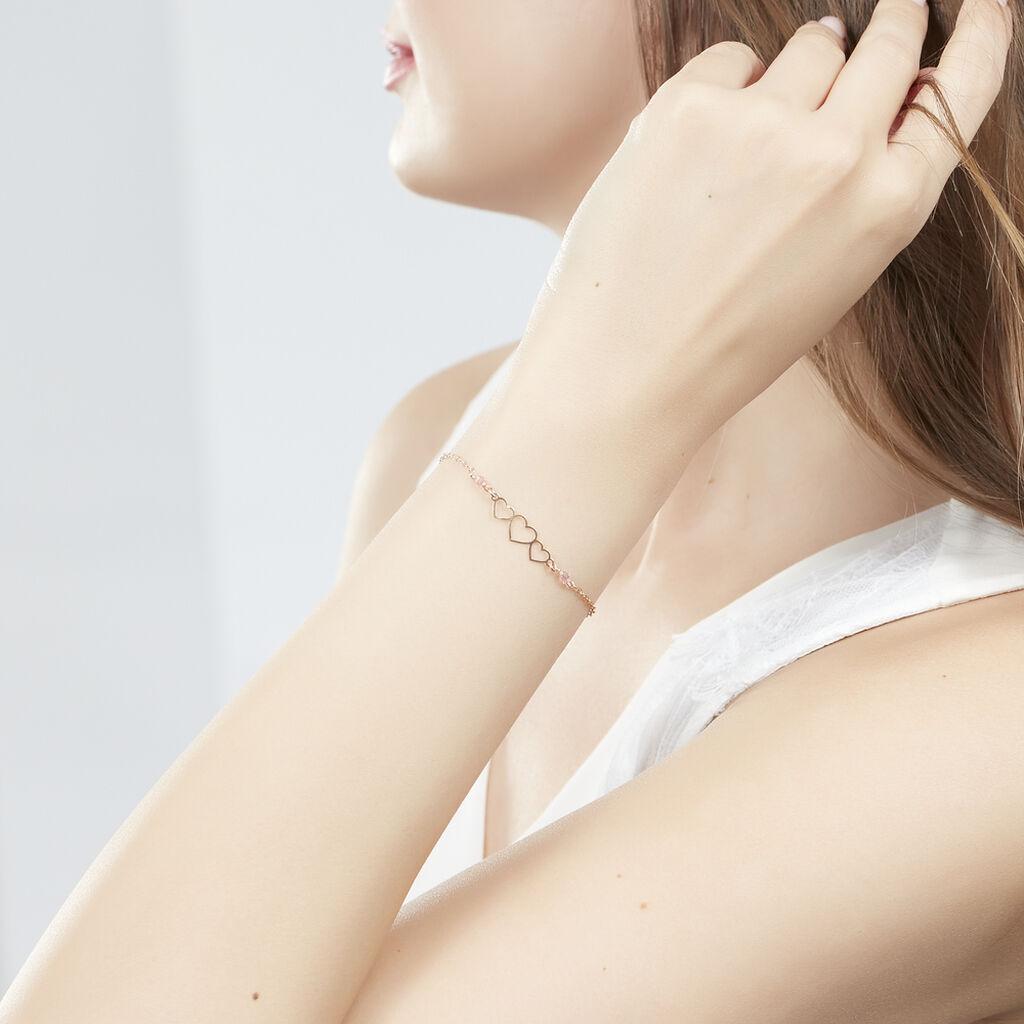Bracelet Love Love Argent Rose Oxyde De Zirconium - Bracelets Coeur Femme | Histoire d'Or