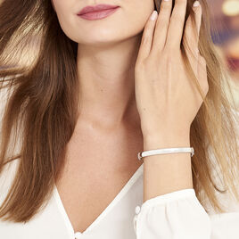 Bracelet Jonc Thaira Argent Blanc - Bracelets joncs Femme   Histoire d'Or