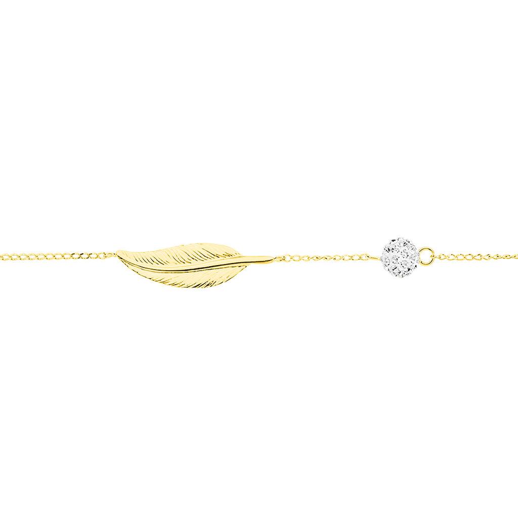 Bracelet Powoo Or Jaune Strass - Bracelets Plume Femme | Histoire d'Or