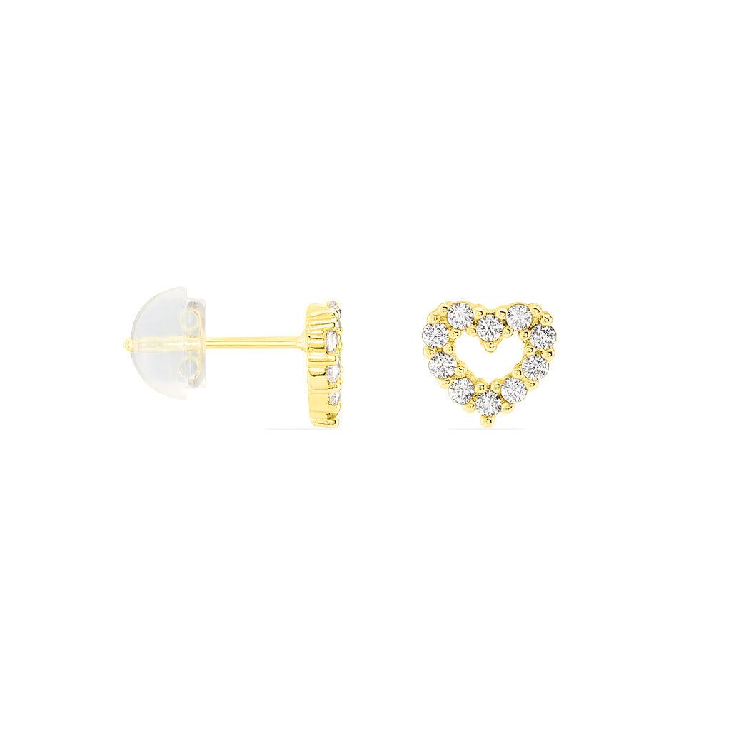 Boucles D'oreilles Puces Coeur Ajoure Or Jaune Oxyde De Zirconium - Boucles d'Oreilles Coeur Femme | Histoire d'Or