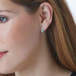 Boucles D'oreilles Puces Or Blanc Topaze Et Oxyde De Zirconium - Clous d'oreilles Femme | Histoire d'Or
