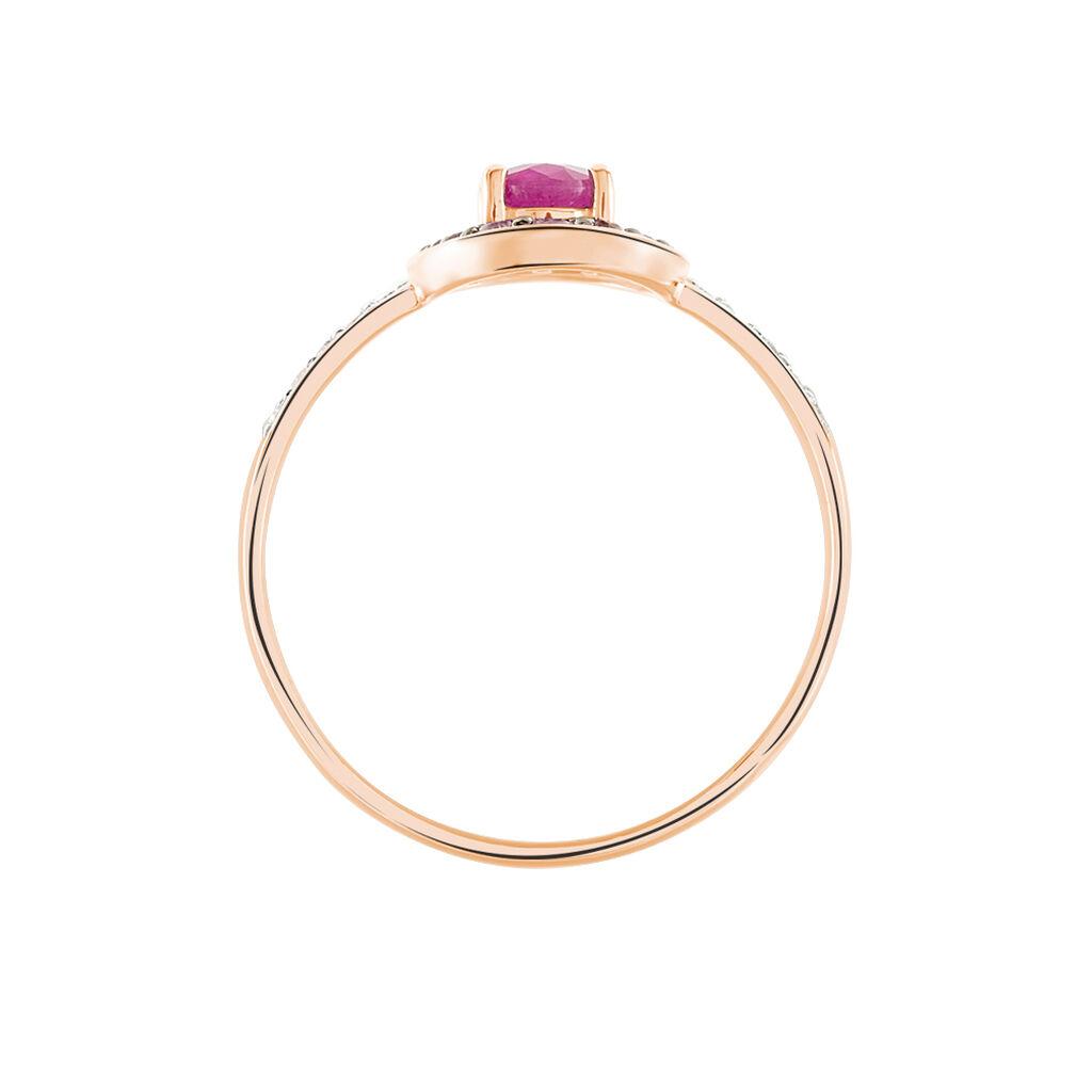 Bague Leona Or Rose Rubis Et Saphir Et Diamant - Bagues solitaires Femme | Histoire d'Or
