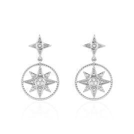 Boucles D'oreilles Pendantes Roanna Or Blanc Diamant - Boucles d'Oreilles Etoile Femme | Histoire d'Or